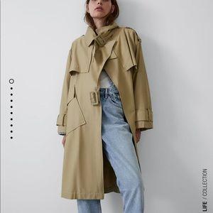 NWT Zara Tan Oversized Trench Coat Sz S
